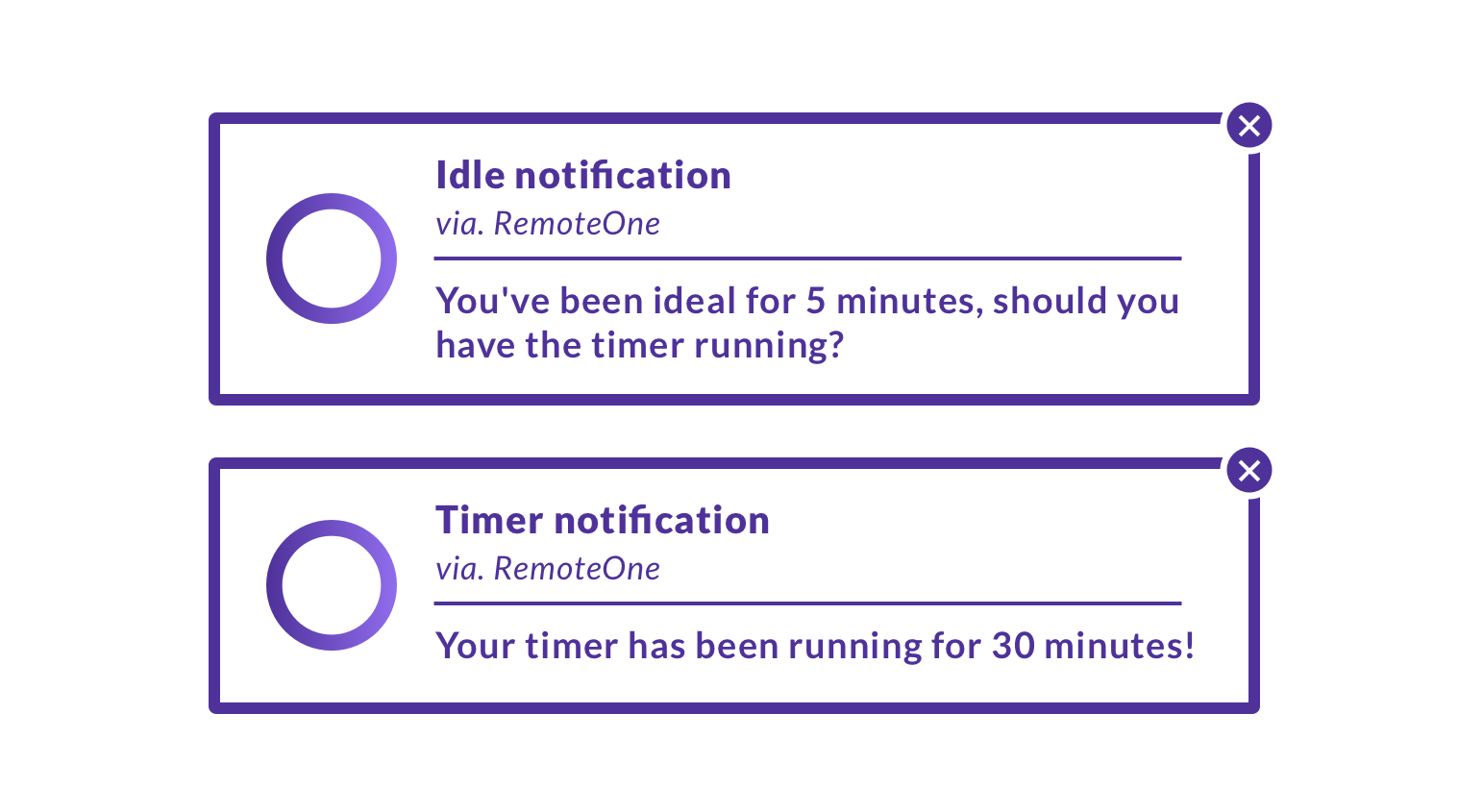 Time tracking notifications